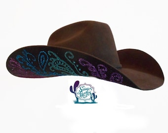 Paisley Bling Hand Painted Felt Cowboy Hat - Special Order