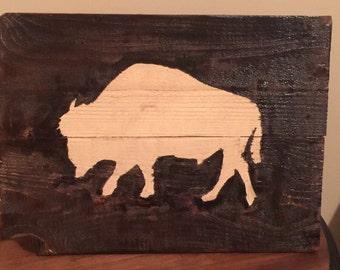 Buffalo Wood Pallet Art