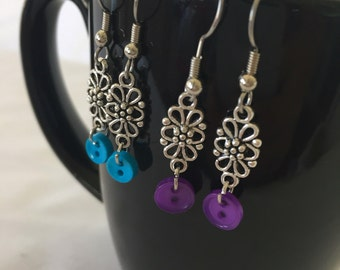 Button silver dangle earrings - silver dangle earrings - jewelry - gift for her
