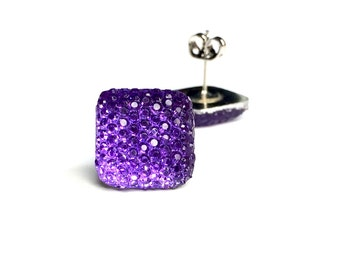 NICKEL FREE Purple Square Sparkle Studded Earrings for Sensitive Ears