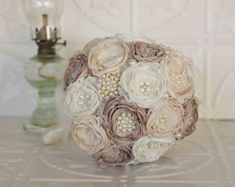Fabric Bouquet, Vintage Inspired Brooch Wedding Bouquet, Ivory, Cream and Taupe, Satin, chiffon and Lace Bouquet