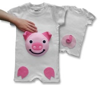 pig onesie, personalized kids, toddler farm, kids romper, baby pig, farm birthday party, farm outfit, baby romper, baby animal onesie, piggy