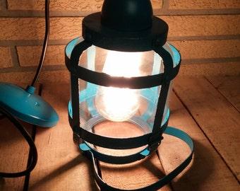 Caged rustic hanging pendant light