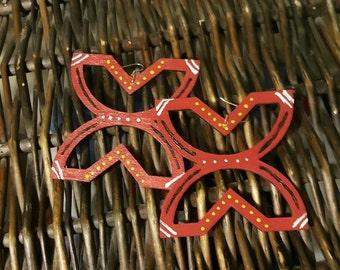 Handpainted earrings, wooden earrings, statement earrings, African earrings, tribal earrings