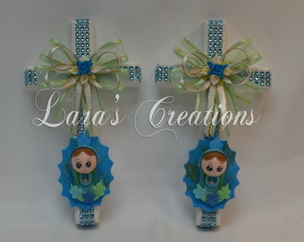Wood Cross with angel, Favor, Baptism, Confirmation, Christianity, First communion.(12 pc)