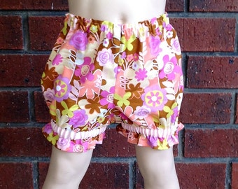 DIAPER COVER BLOOMERS, coral and purple floral bloomers baby girls, size nb 3 6 12 18 24 months, newborn bloomers, pretty diaper cover