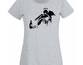 Womens T-Shirt with Banksy Street Art Graffiti Design / Giant Fallen Angel with Rome Bottle Shirts / Tee Shirt + Free Decal Gift