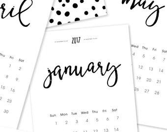 2017 Calendar. 12 Month Desk or Wall Calendar. 2017 Planner. Christmas Gift. Teacher Gift. Hostess Gift. Handlettering Wall Art Office Decor