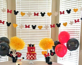 Mickey Mouse Garland 12 ft, Mickey Mouse Birthday garland, Minnie Mouse garland, Minnie Mouse Birthday garland