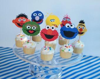 Sesame Street cupcake toppers, Sesame Street birthday cupcake toppers set of 12