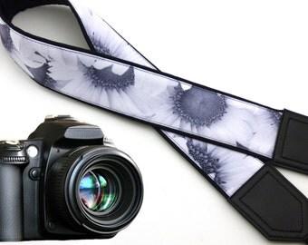 Sunflowers camera strap. White flowers Camera strap. DSLR / SLR Camera Strap. Handmade craft by InTePro