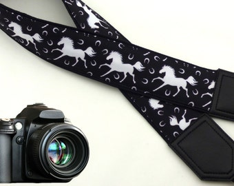 White Horses camera strap. Black and white. Animals. Wildlife. DSLR / SLR Camera accessories by InTePro