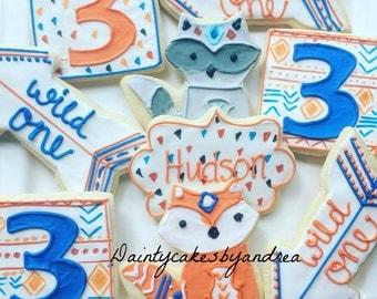1 dozen Wild One tribal boho theme custom cookies!