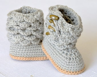 Crochet Pattern Baby Booties with Scallops Baby Boots Pattern Photo Tutorial Instant Download