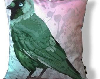 Bird cushion cover coton GREEN JACKDAW