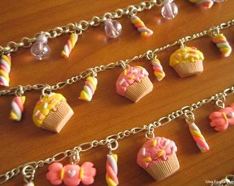 Marshmallow candy bracelet-charm-cernit polymer clay-handmade-polymer clay