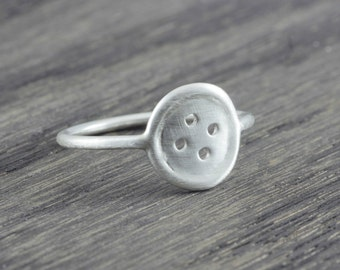 Sterling Silver button ring, dainty button ring
