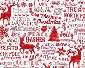 Reindeer Names Red and White Christmas Cotton Fabric