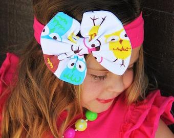 Hot Pink Owl Bow Cotton Headband  Photography Prop