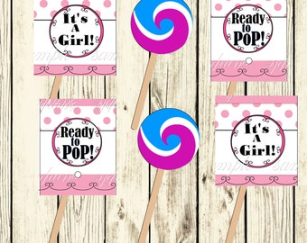Printable Ready to Pop Baby Shower Lollipop Covers