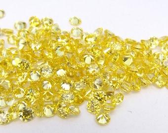 500pcs.Wholesale Yellow Cubic zirconia CZ Round cut 1.50mm. loose gemstones.