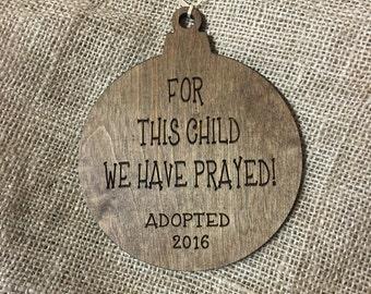 Adoption ornament, adoption christmas ornament, christmas ornament, engraved ornament