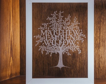 Glass Etched Family Tree