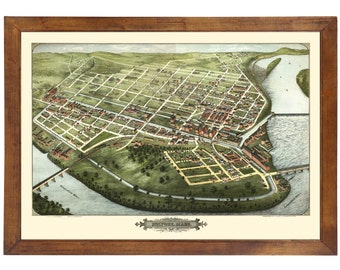 Holyoke, MA 1877 Bird's Eye View; 24x36 Print from a Vintage Lithograph