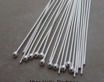 20 sterling silver headpins 2 inch 21 gauge 2mm ball