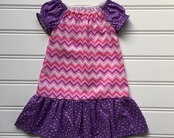 Pink and Purple Chevron Dress for Girl, Toddler dress, Girl Summer Dress, Toddler girl dress, Girl Peasant Dress, Pink Dress, Kid Dress, 2T