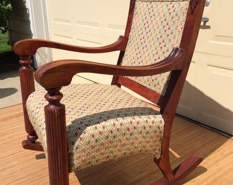 Huge Antique Vintage Rocking Chair Oversized Upholstered Neoclassical