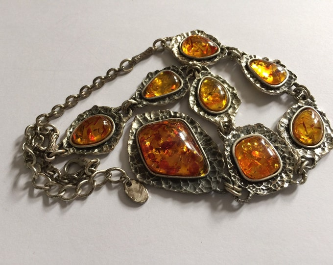 Vintage Artisan Baltic Amber and Sterling Silver Necklace with Eight Amber Cabochons-OOAK