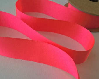 25mm Neon Pink Double Sided Satin Ribbon