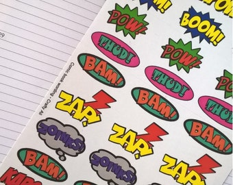Stickers: Comic book Superhero wording