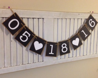 Wedding Banner Special Date Anniversary Bunting Garland Sign Black and White Photo Prop Bride and Groom Engagement Save the Date
