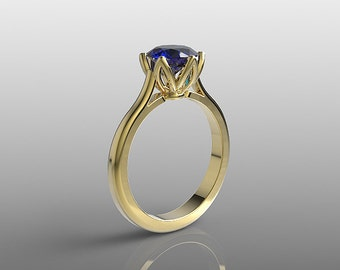14k yellow gold engagement ring, 7mm round Blue Sapphire ring, wedding ring, promise ring, anniversary ring, special orders, R-104