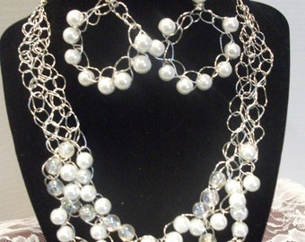 Chunky Crochet Pearl Necklace and Earring set.
