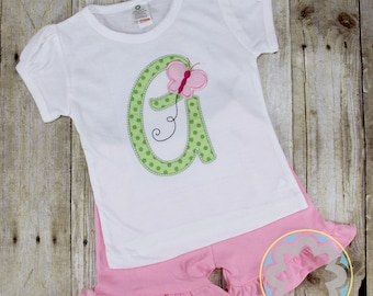 Butterfly Spring and Summer Personalized Monogrammed Shirt and Ruffle Short Set