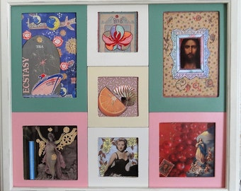 Original art hand made collages matted and framed