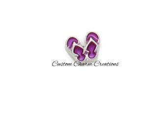 Floating Locket Charm • Purple Flip Flops • Summer • Beach • Memory Charm - FAS08