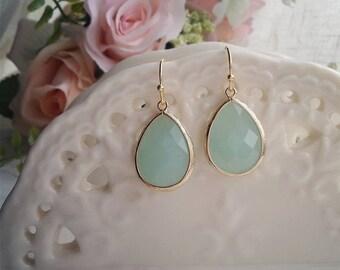 Mint bezel glass drop earrings on gold hooks, bridesmaid earrings, wedding jewelry, spring jewelry, wedding fashion, bridal earrings, green