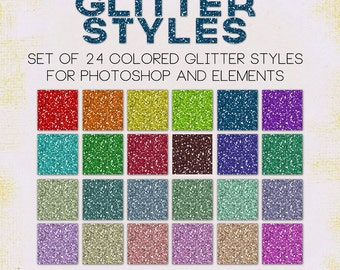 24 Glitter Photoshop Layer Styles for Designing and Scrapbooking