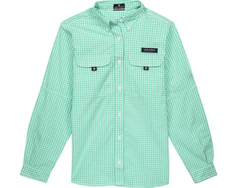 Simply Southern Monogrammed Dock Shirt - Mint Gingham -  SMALL or Extra Large - XL