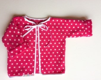 baby girls fleece jacket, pink spotty jacket, 0-3 months, newborn girl, pink with white spots, satin trimed fleece jacket,baby girl clothes,