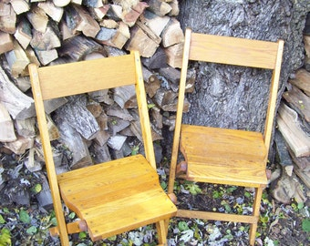 Vintage Rustic Oak Wood Folding Chairs Synder Chair Co 1940's Americana