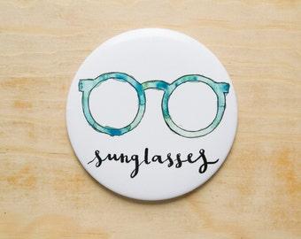 Pocket mirror with summer design