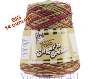 14oz AUTUMN LEAVES OMBRE Sugar N Cream Cotton Cone yarn 14oz cotton yarn, multi color variegated cotton yarn, Lily Sugar N Cream cotton Cone