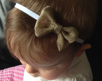 Burlap Bow Headband