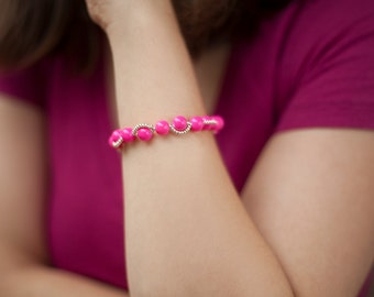 Pink and Gold Seed Bead Bracelet