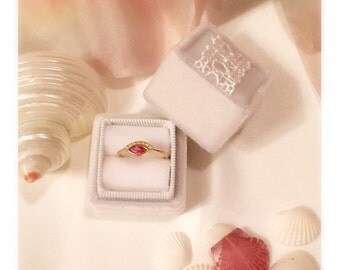Velvet Ring Box Handmade in Vintage Style in White Cupcake and Lace for Weddings, Proposals, Styled Shoots, Temple Ceremony